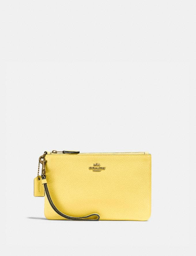 Coach Small Wristlet B4/Retro Yellow New Women's New Arrivals Small Leather Goods