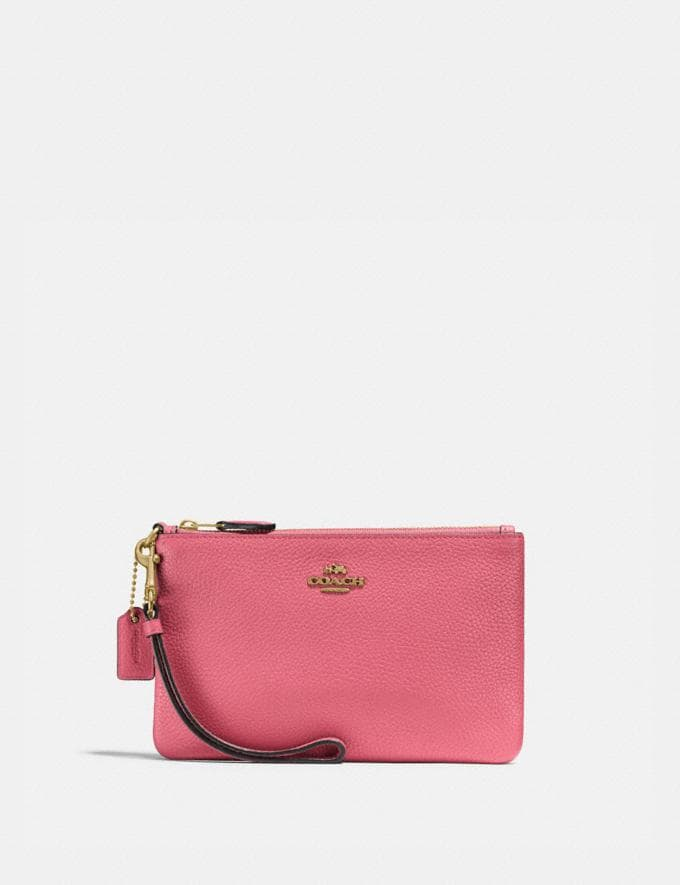 Coach Small Wristlet Brass/Rouge New Women's New Arrivals Small Leather Goods