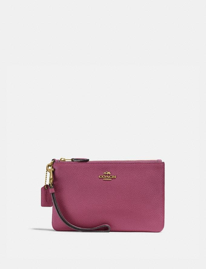 Coach Small Wristlet Gold/Dusty Pink New Women's New Arrivals Small Leather Goods