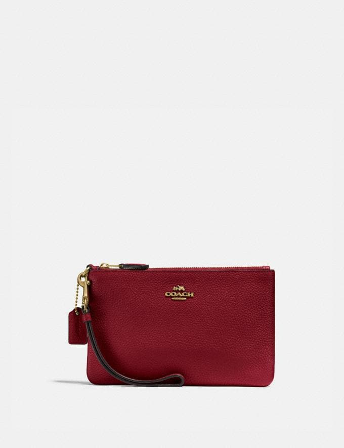 Coach Small Wristlet Gd/Deep Red Women Small Leather Goods Wristlets
