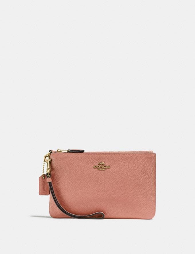 Coach Small Wristlet Light Peach/Gold Gifts For Her