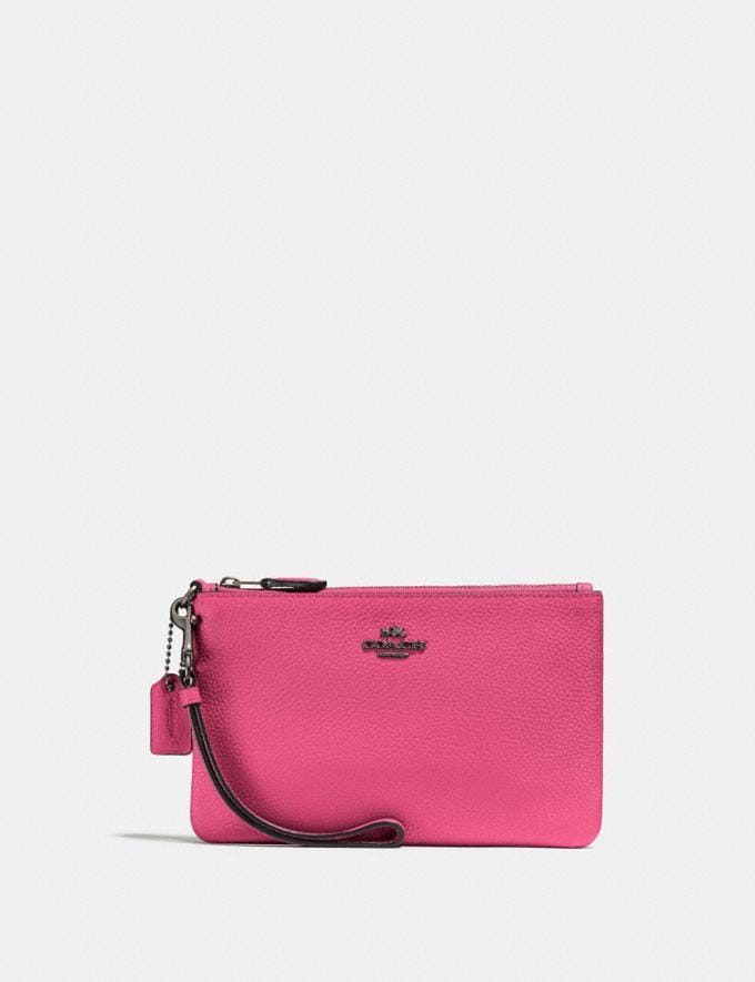 Coach Small Wristlet Dark Pink/Gunmetal Personalise Personalise It Monogram For Her