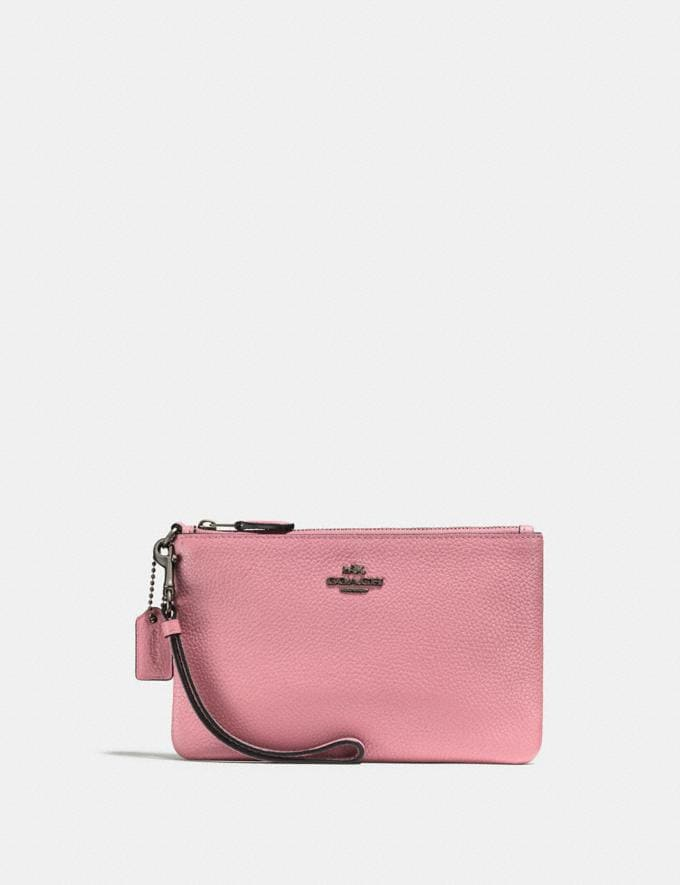 Coach Small Wristlet Gunmetal/Red Apple Women Edits Summer Picks