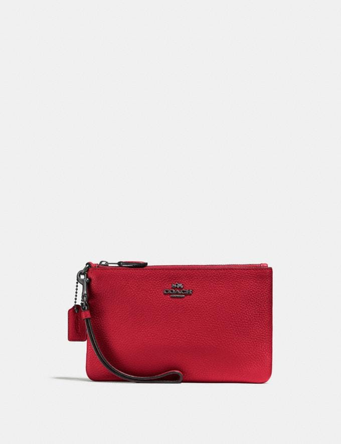 Coach Small Wristlet Gunmetal/Red Apple New Featured Online-Only