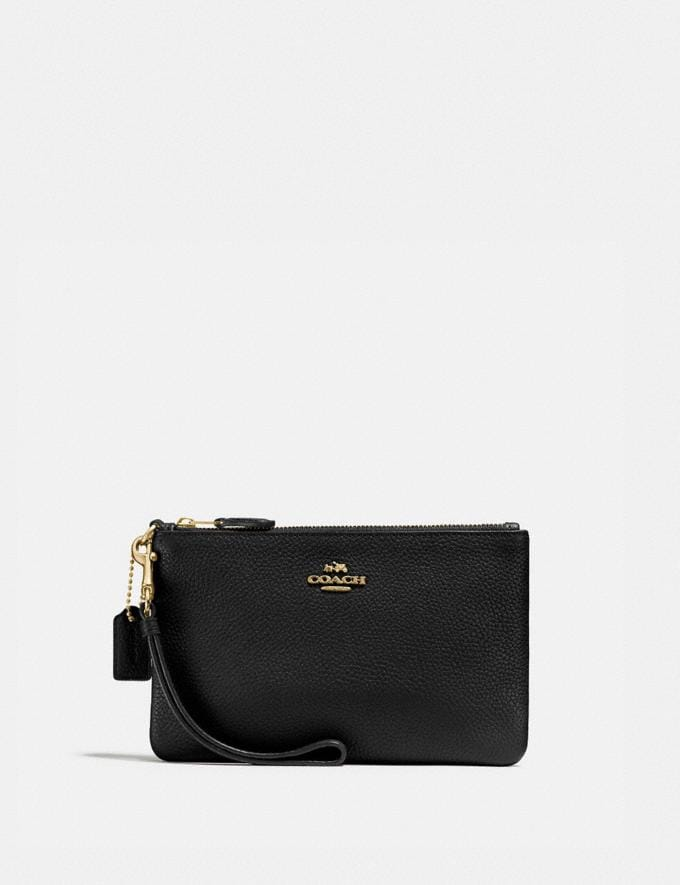 Coach Small Wristlet Black/Light Gold Women Accessories