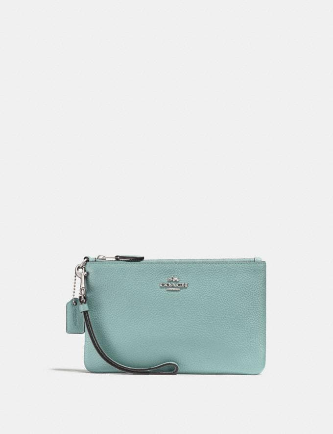Coach Small Wristlet Light Teal/Silver New Featured Online-Only