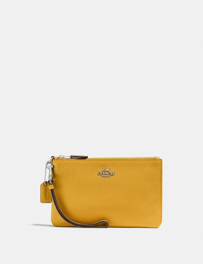Coach Small Wristlet Maize/Silver Gifts For Her Under £100