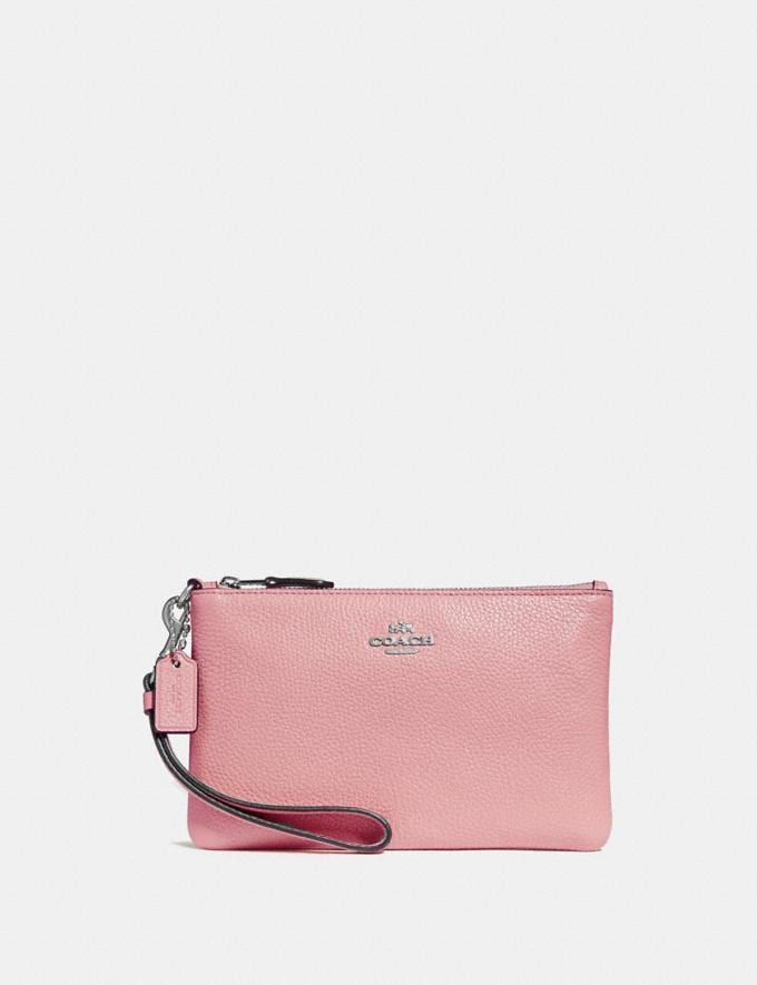 Coach Small Wristlet Light Blush/Silver CYBER MONDAY SALE Women's Sale Wallets & Wristlets