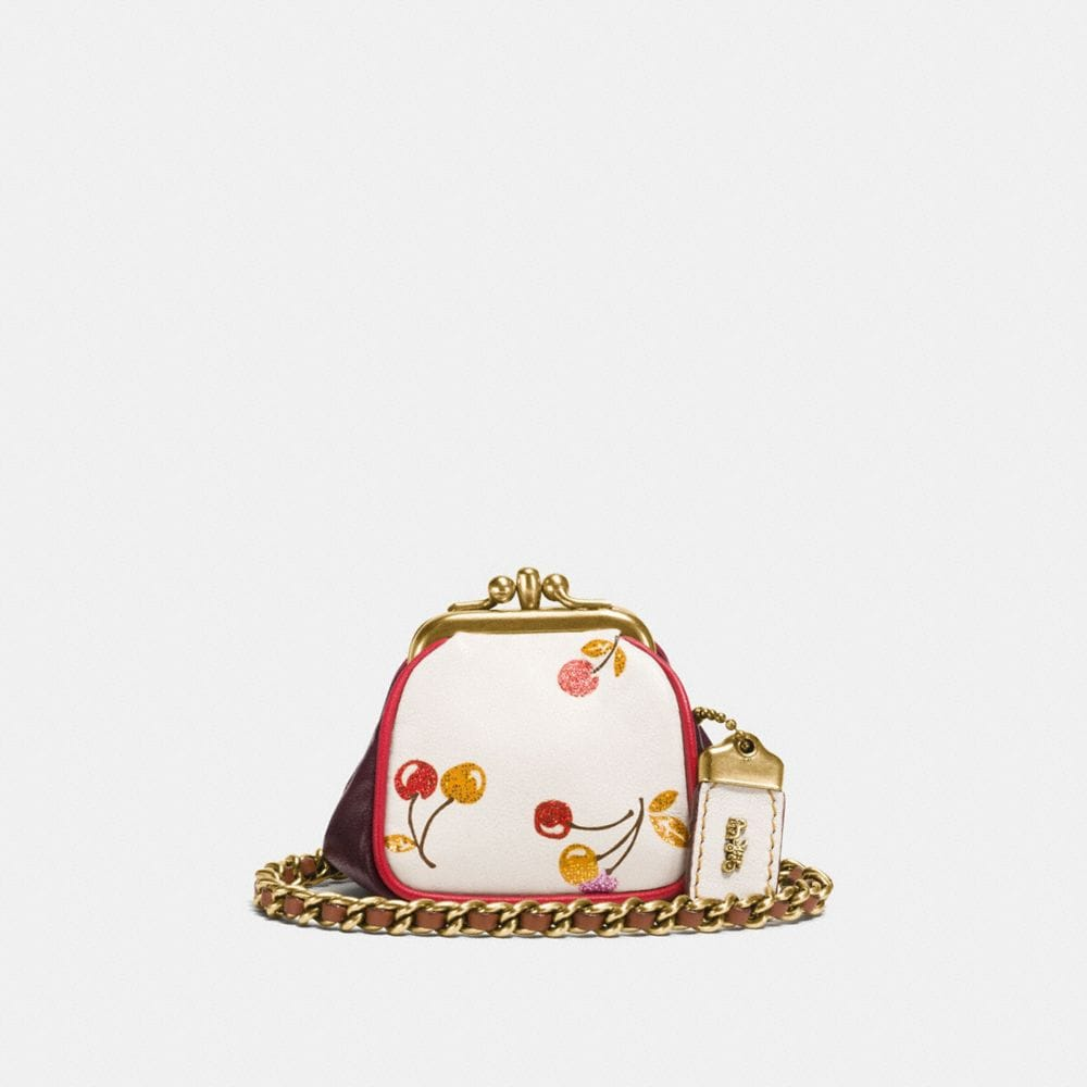 KISSLOCK POUCH IN GLOVETANNED LEATHER WITH CHERRY PRINT