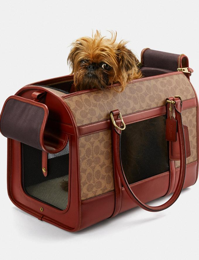 Coach Pet Carrier in Signature Canvas Brass/Tan Rust Women Accessories Pet Accessories Alternate View 3