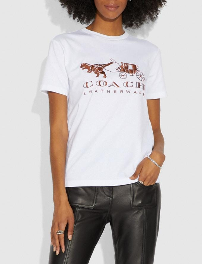 Coach Rexy and Carriage T-Shirt White Women Ready-to-Wear Tops & T-shirts Alternate View 1