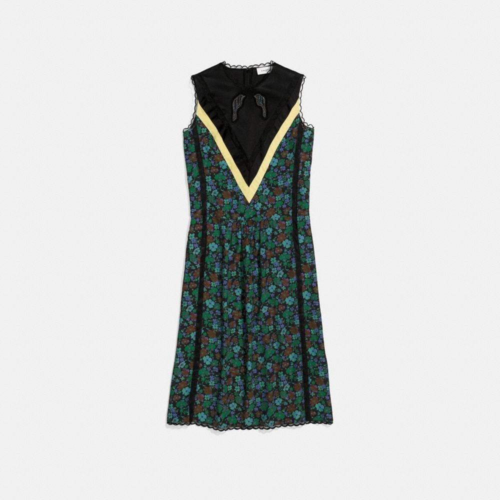 daisy print sleeveless varsity dress