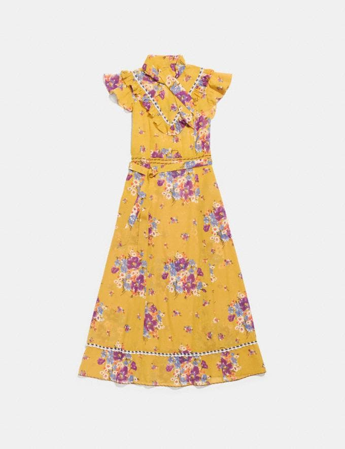 Coach Daisy Bouquet Sleeveless Western Dress With Necktie Mustard Women Ready-to-Wear Dresses