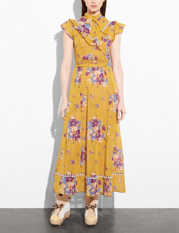 Coach Daisy Bouquet Sleeveless Western Dress With Necktie Mustard Women Ready-to-Wear Dresses Alternate View 1