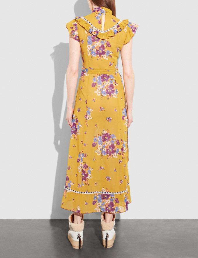 Coach Daisy Bouquet Sleeveless Western Dress With Necktie Mustard Women Ready-to-Wear Dresses Alternate View 2