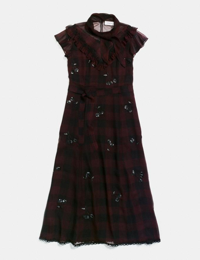 Coach Western Dress With Necktie Dark Burgandy