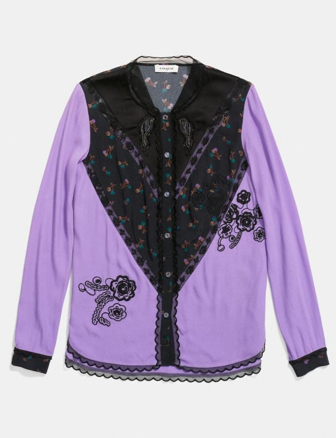 Coach Varsity Blouse Lilac Women Ready-to-Wear Tops