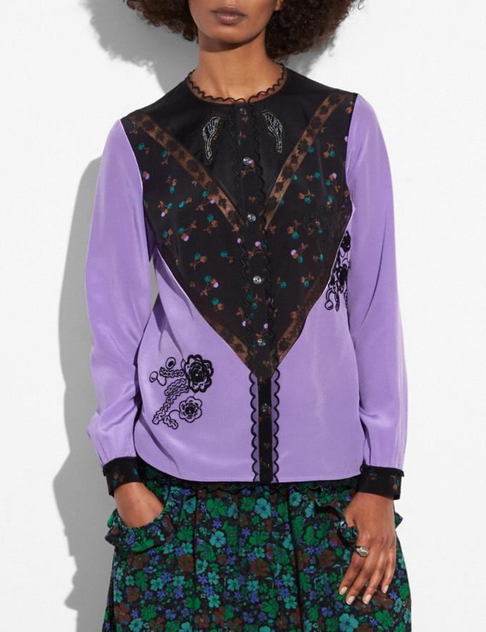 Coach Varsity Blouse Lilac Women Ready-to-Wear Tops Alternate View 1