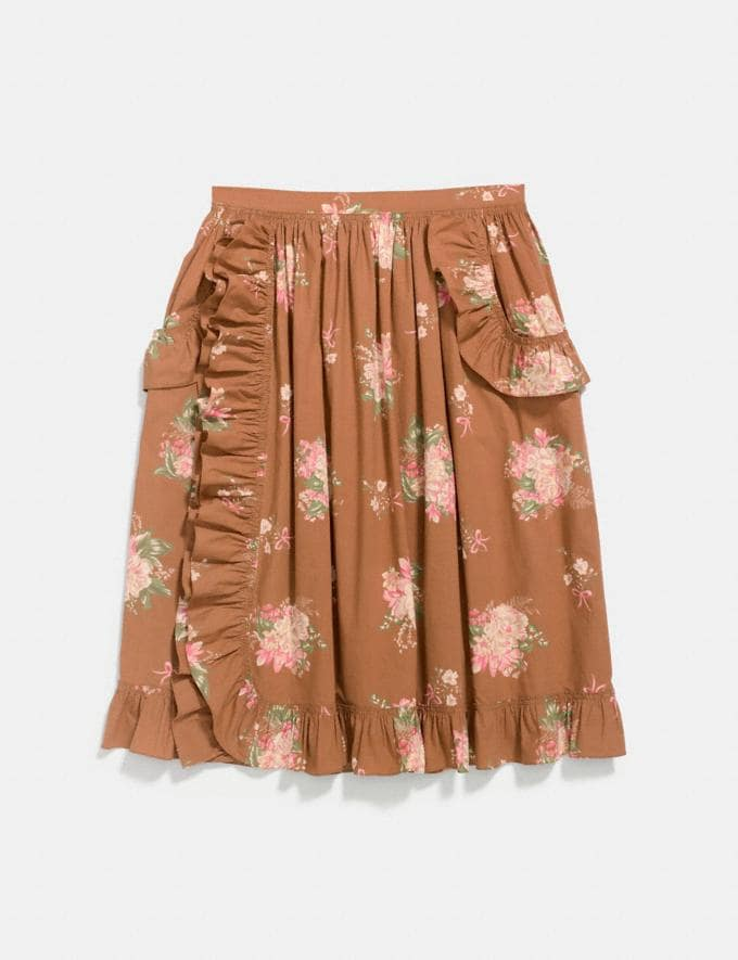 Coach Magnolia Bouquet Ruffle Skirt Brown Multicolor