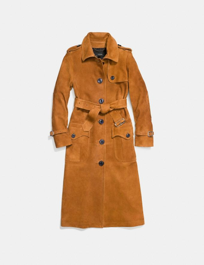 Coach Suede Trench Coat Bamboo Women Ready-to-Wear Outerwear