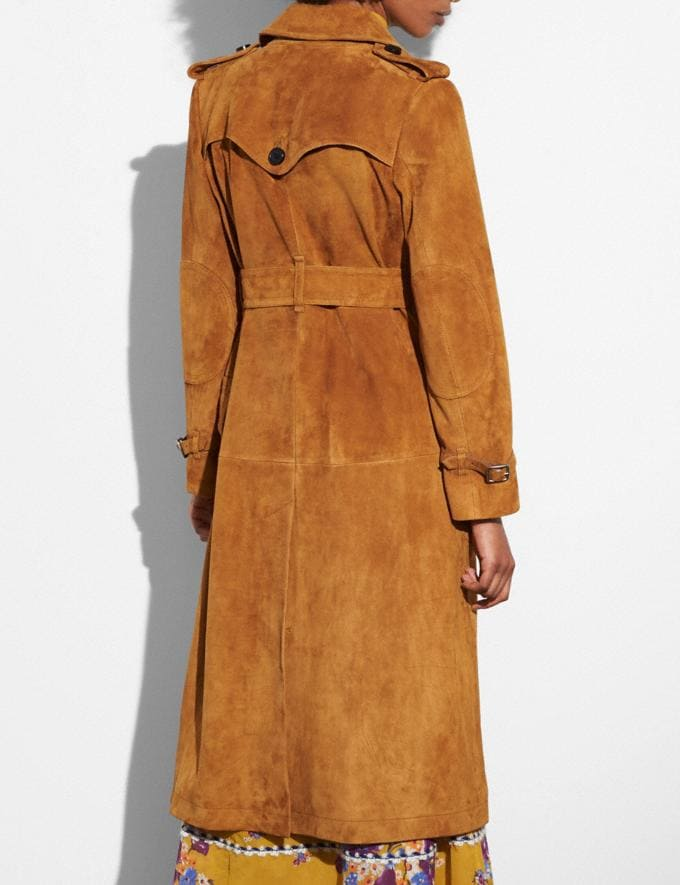 Coach Suede Trench Coat Bamboo Women Ready-to-Wear Outerwear Alternate View 2