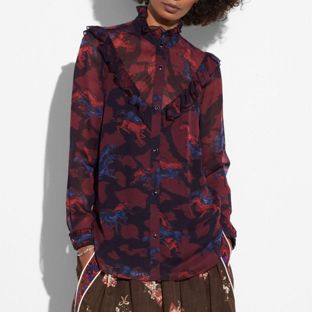 Coach Horse Print Western Blouse Alternate View 1