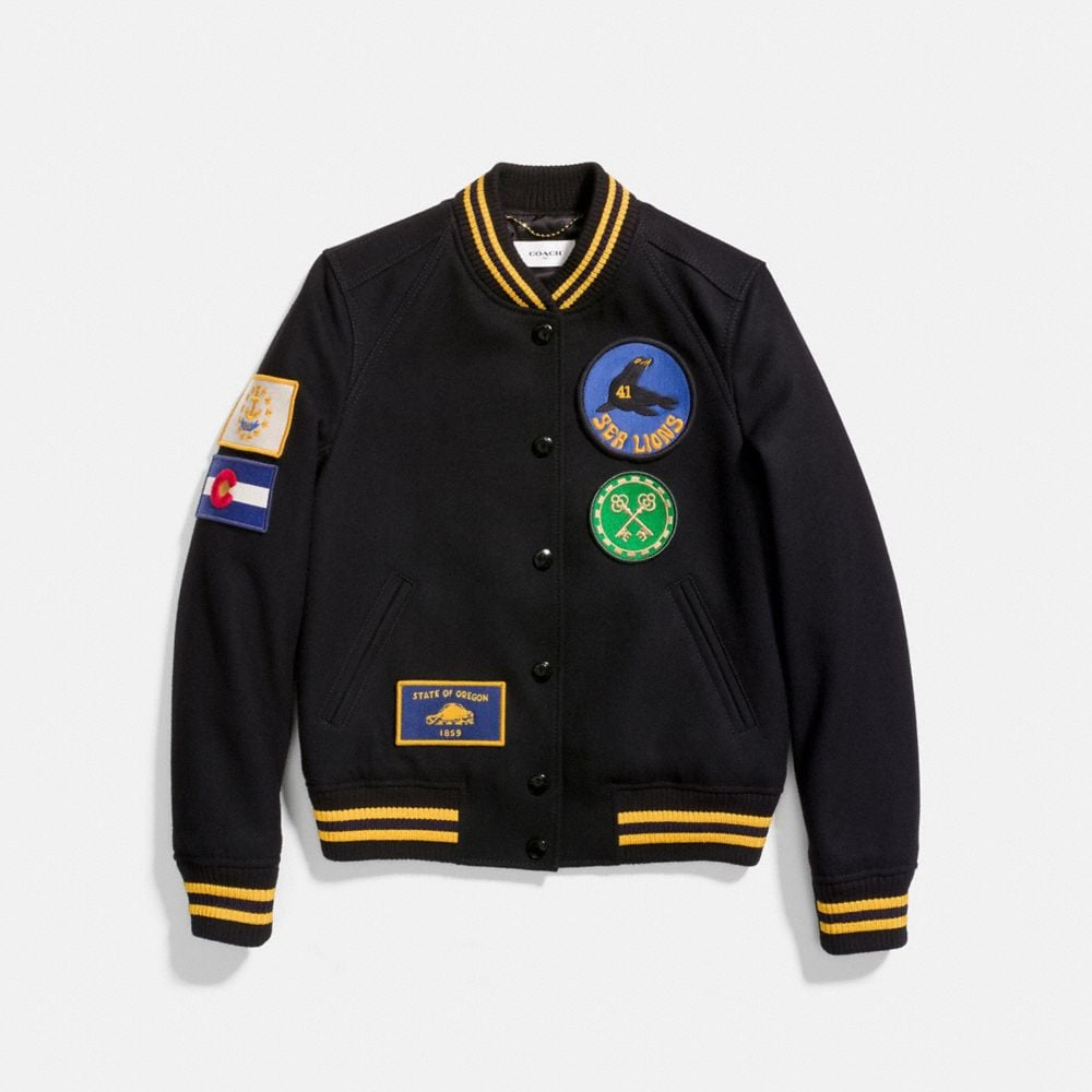MILITARY PATCH VARSITY JACKET