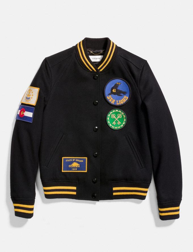 Coach Military Patch Varsity Jacket Black