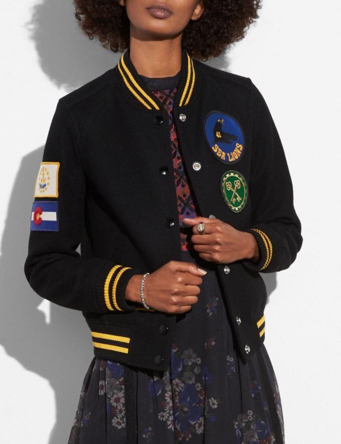 Coach Military Patch Varsity Jacket Black  Alternate View 1