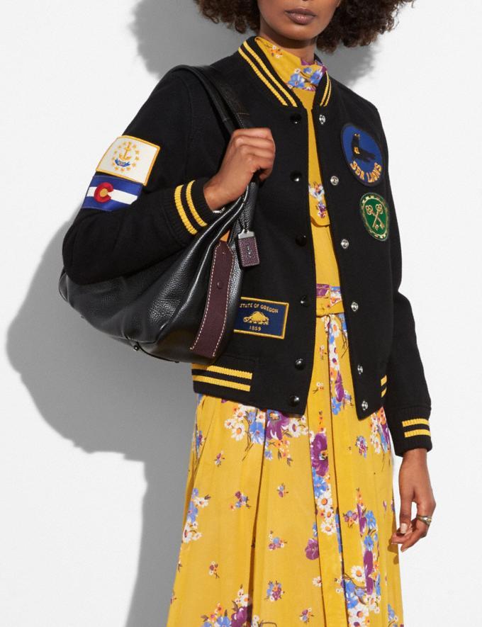 Coach Military Patch Varsity Jacket Black  Alternate View 3