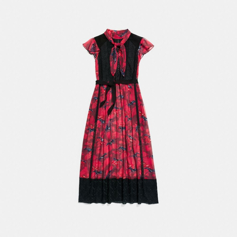 HORSE PRINT LACEWORK DRESS WITH NECKTIE