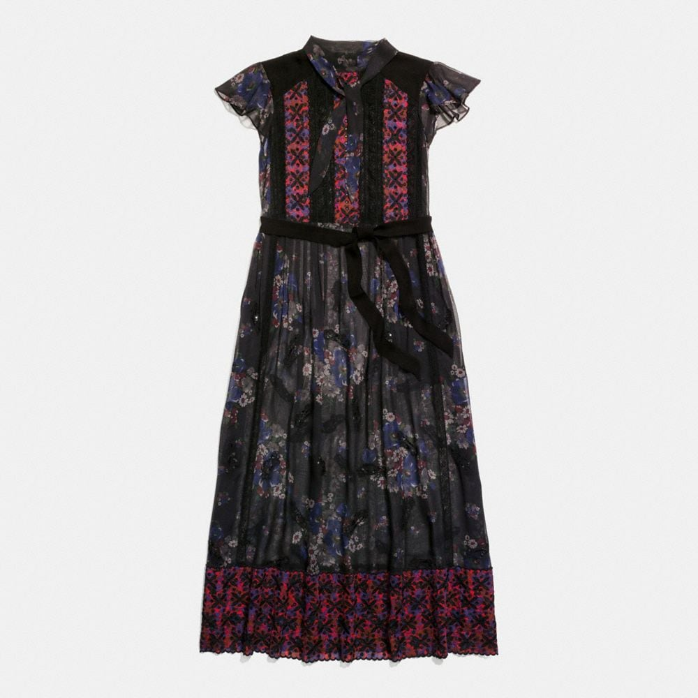 mixed print lacework dress with necktie