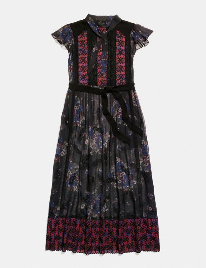 Coach Mixed Print Lacework Dress With Necktie Black Multi Staff Sale