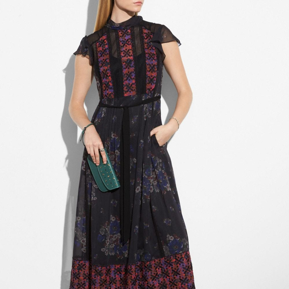 Coach Mixed Print Lacework Dress With Necktie Alternate View 3