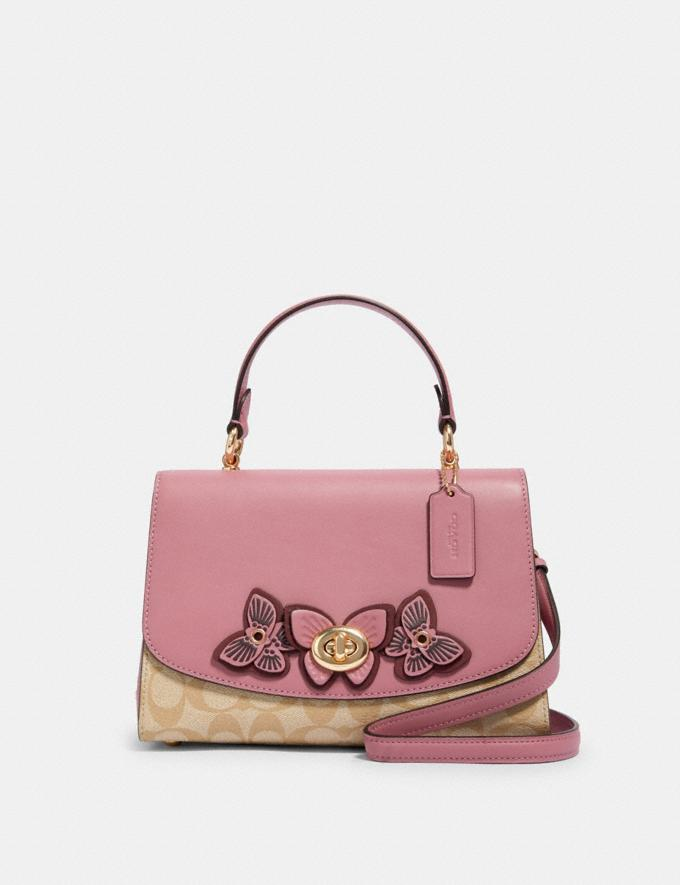 Coach Tilly Top Handle in Signature Canvas With Butterfly Applique Im/Lt Khaki/ Rose