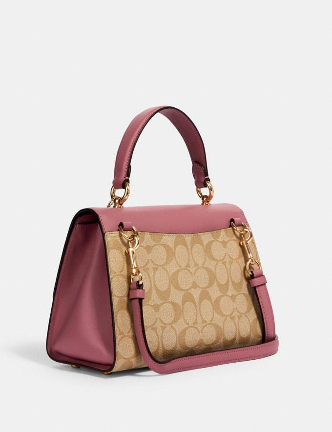 Coach Tilly Top Handle in Signature Canvas With Butterfly Applique Im/Lt Khaki/ Rose  Alternate View 1