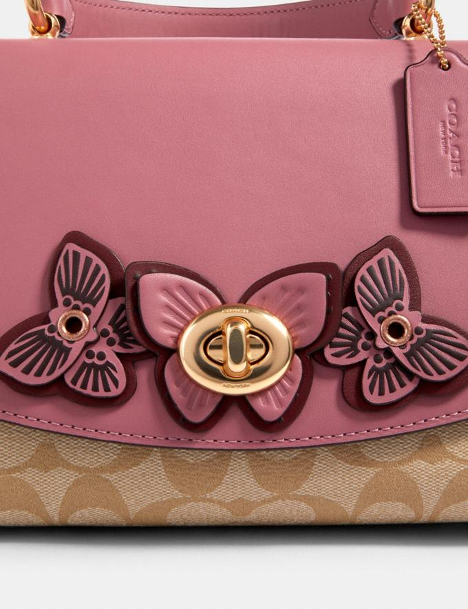 Coach Tilly Top Handle in Signature Canvas With Butterfly Applique Im/Lt Khaki/ Rose  Alternate View 4