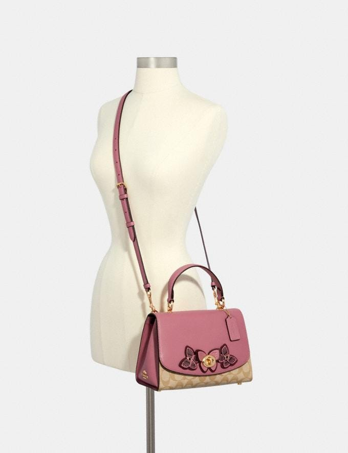 Coach Tilly Top Handle in Signature Canvas With Butterfly Applique Im/Lt Khaki/ Rose  Alternate View 3