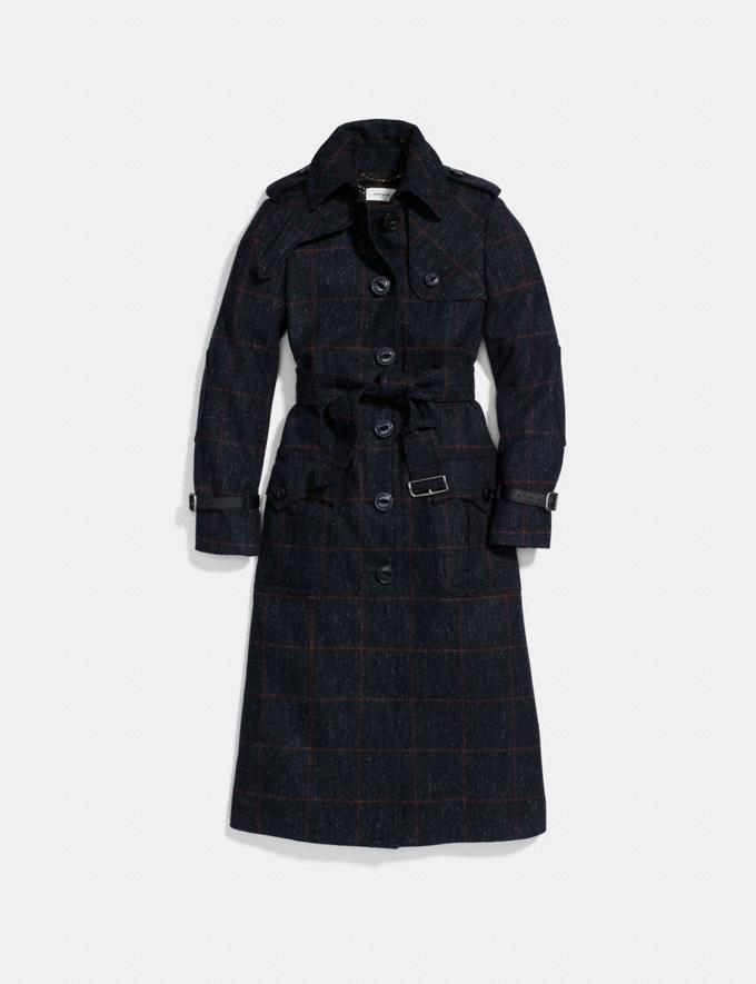 Coach Wool Trench Coat Navy