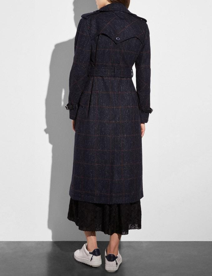 Coach Wool Trench Coat Navy  Alternate View 2