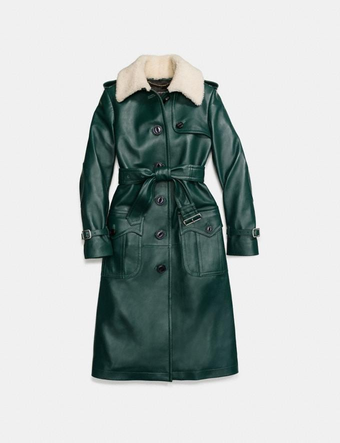 Coach Leather Trench Coat Bottle Green