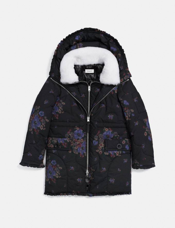 Coach Eiderdown Printed Puffer Jacket Black Multi Women Ready-to-Wear Outerwear