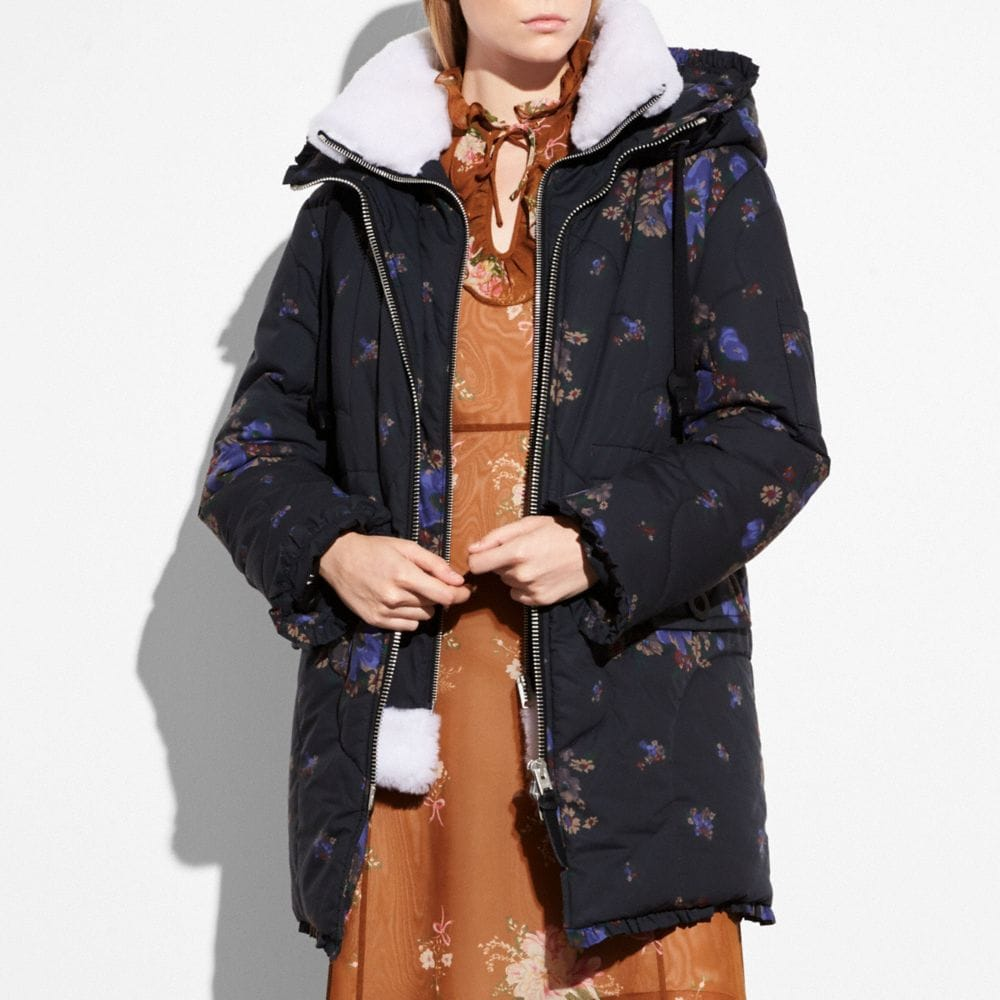 Coach Eiderdown Printed Puffer Jacket Alternate View 1