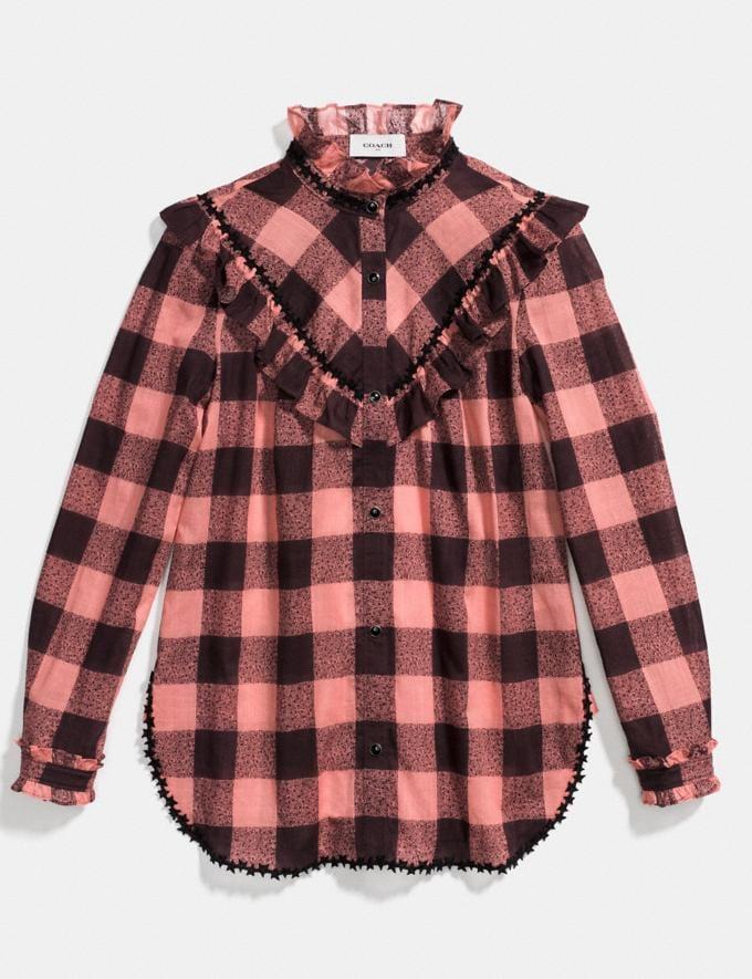 Coach Prairie Check Western Blouse Pink