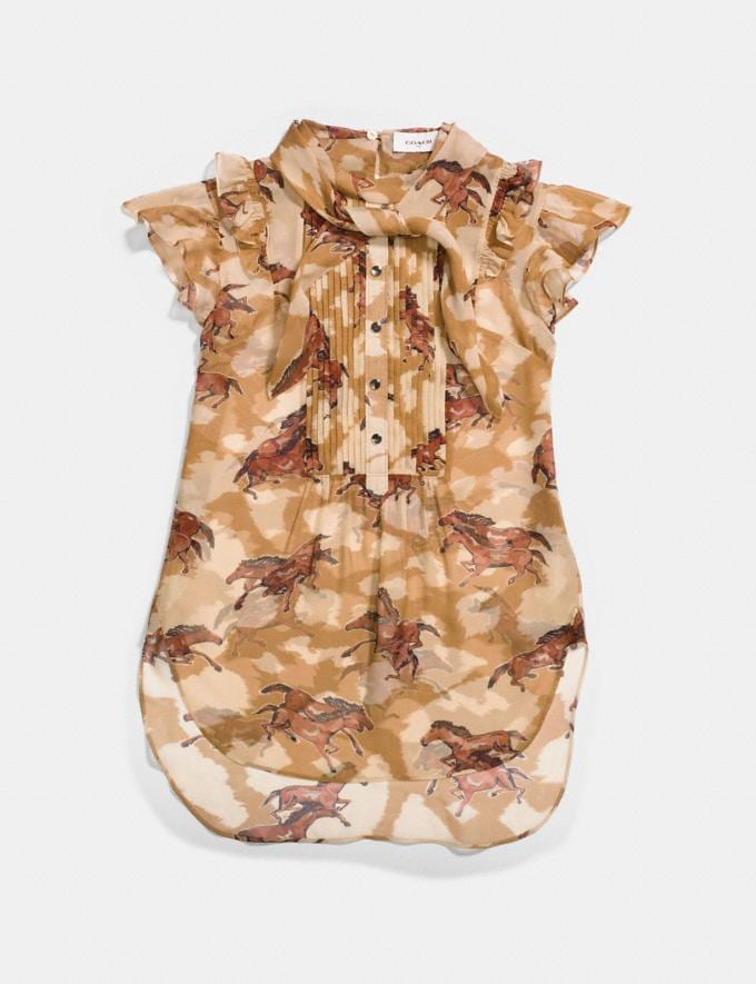 Coach Horse Print Sleeveless Blouse Dark Caramel