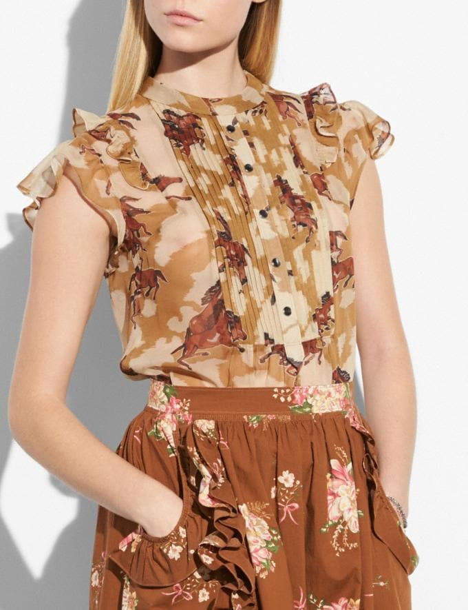 Coach Horse Print Sleeveless Blouse Dark Caramel  Alternate View 1