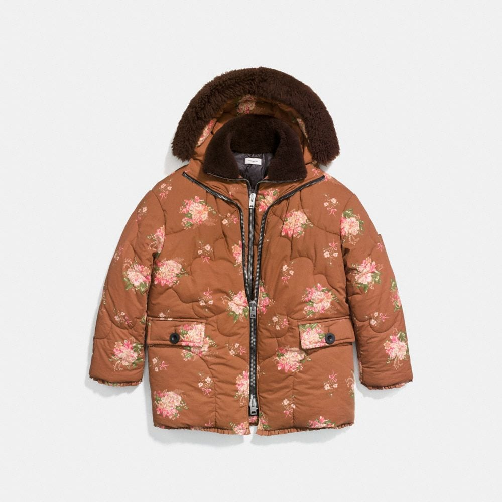 OVERSIZED EIDERDOWN PRINTED PUFFER JACKET