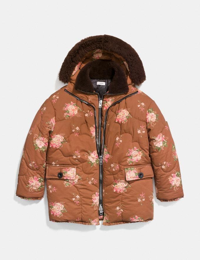 Coach Oversized Eiderdown Printed Puffer Jacket Brown Multicolor Staff Sale