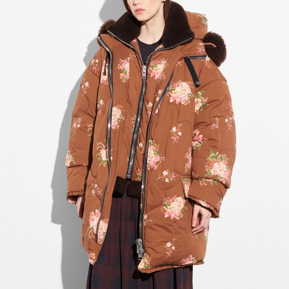 Coach Oversized Eiderdown Printed Puffer Jacket Alternate View 1