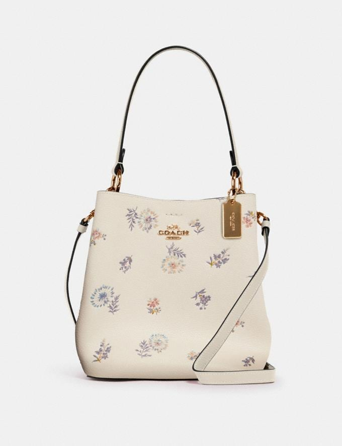 Coach Small Town Bucket Bag With Dandelion Floral Print Im/Chalk Light Saddle Memorial Day Deals
